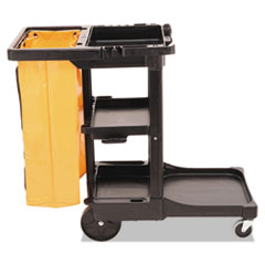 Rubbermaid® Commercial Multi-Shelf Cleaning Cart, Three-Shelf, 20w x 45d x 38.25h, Black
