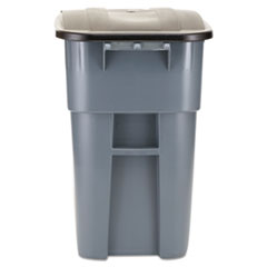 Rubbermaid® Commercial Brute Rollout Container, Square, Plastic, 50 gal, Gray