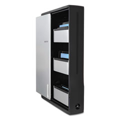 Zip12 Charging Wall Cabinet for 12 Devices, 26.4 x 5.9 x 35.6, Black/Silver