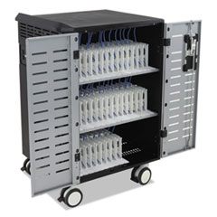 Zip40 Charging and Mgmt Cart for 30-40 Devices, 30.3 x 26.1 x 45.4, Black/Silver