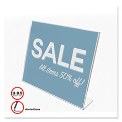 Classic Image Slanted Sign Holder, Landscaped, 11 x 8 1/2 Insert, Clear