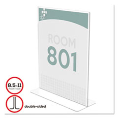 Superior Image Stand-Up Double-Sided Sign Holder, Plastic,8 1/2x11 Insert, Clear