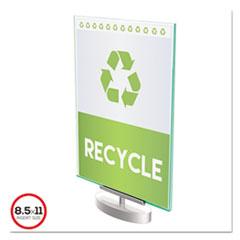 deflecto® Superior Image Swivel Sign Holder w/Green Edge, 8 1/2 x 11 Insert, Silver Base