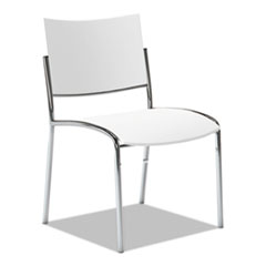 Mayline® Escalate Stacking Chair, Plastic Back/Seat, White, 4 Chairs/Carton MLNESC2W