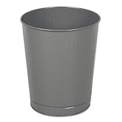Rubbermaid® Commercial Fire-Safe Wastebasket, Round, Steel, 6.5 gal, Gray