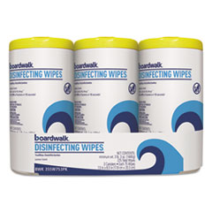 Boardwalk® Disinfecting Wipes, 8 x 7, Lemon Scent, 75/Canister, 3 Canisters/Pack, 4/Pks/Ct
