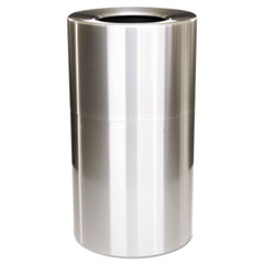 Rubbermaid® Commercial 2-Piece Open Top Indoor Receptacle, Round, with Liner, 35 gal, Satin Aluminum