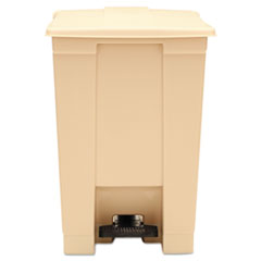 Rubbermaid® Commercial Indoor Utility Step-On Waste Container, Square, Plastic, 12 gal, Beige