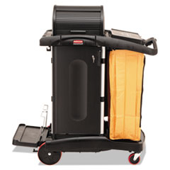 High-Security Healthcare Cleaning Cart, 22w x 48.25d x 53.5h, Black