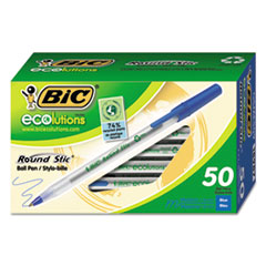 BIC® Ecolutions Round Stic Ballpoint Pen Value Pack, Stick, Medium 1 mm, Blue Ink, Clear Barrel, 50/Pack