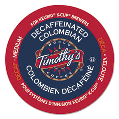 Timothy's World Coffee Colombian Decaf Coffee K-Cups, 24/Box