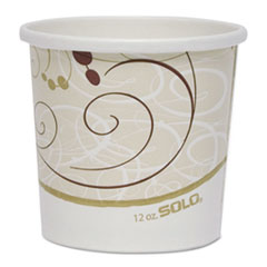 "Dart® Double Poly Paper Food Containers, 12 oz, 3.6"" Diameter x 3.3""h, Symphony Design, 25/Pack, 20Pack/Crtn"