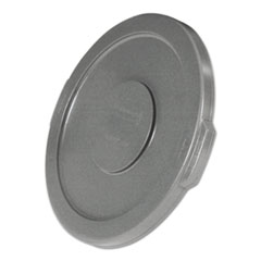 """Rubbermaid® Commercial Round Flat Top Lid, for 10 gal Round BRUTE Containers, 16"""" diameter, Gray"""