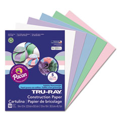 Pacon® Tru-Ray Construction Paper, 76 lbs., 9 x 12, Assorted Pastel, 50 Sheets/Pack PAC6568