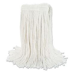 "Boardwalk® Banded Rayon Cut-End Mop Heads, White, 24 oz, 1 1/4"" Headband, 12/Carton"