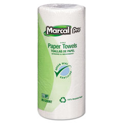 "Marcal® Perforated Kitchen Towels, White, 2-Ply, 9""x11"", 85 Sheets/Roll, 30 Rolls/Carton"