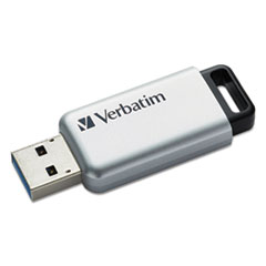 Verbatim® Store 'n' Go Secure Pro USB Flash Drive with AES 256 Encryption, 32 GB, Silver
