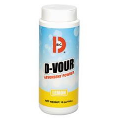 Big D Industries D-Vour Absorbent Powder, Canister, Lemon, 16oz, 6/Carton