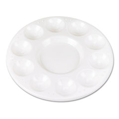 Creativity Street® Round Plastic Paint Trays for Classroom, White, 10/Pack