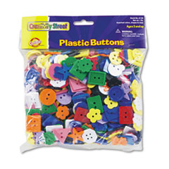 Chenille Kraft® Plastic Button Assortment, 1 lbs., Assorted Colors/Sizes