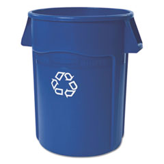 Rubbermaid® Commercial Brute Recycling Container, Round, 44 gal, Blue RCP264307BLUEA