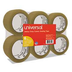 "Universal® General-Purpose Box Sealing Tape, 48mm x 54.8m, 3"" Core, Tan, 6/Pack"