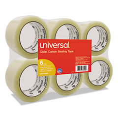 """Universal® Quiet Tape Box Sealing Tape, 48mm x 100m, 3"""" Core, Clear, 6/Pack"""