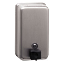 "Bobrick ClassicSeries Surface-Mounted Soap Dispenser, 40 oz, 4.75"" x 3.5"" x 8.13"", Stainless Steel"