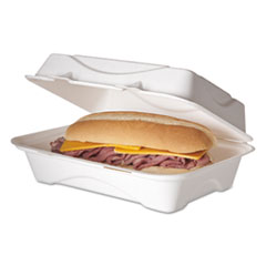 Eco-Products® Bagasse Hinged Clamshell Containers, 9 x 6 x 3, White, 50/Pack, 5 Packs/Carton
