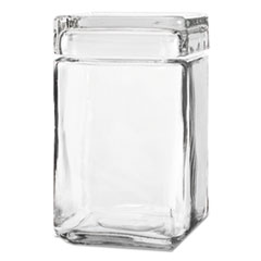 Anchor® Stackable Square Glass Jar w/Glass Lid, 1.5 qt, Clear, 4/Carton