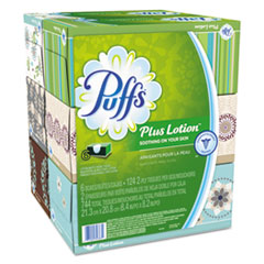 Puffs® Plus Lotion Facial Tissue, 2-Ply, White, 124 Sheets/Box, 6 Boxes/Pack, 4 Packs/Carton
