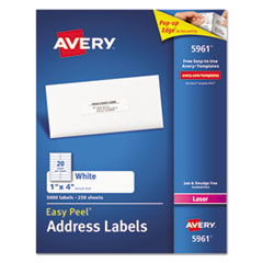 Easy Peel Mailing Address Labels, Laser, 1 x 4, White, 2000/Box