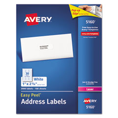 Avery® Easy Peel Mailing Address Labels, Laser, 1 x 2 5/8, White, 3000/Box