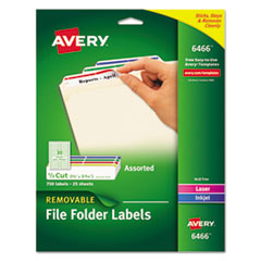 Avery® Removable File Folder Labels with Sure Feed(TM) Technology