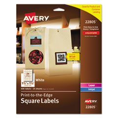 Avery® Square Labels w/ Sure Feed & TrueBlock, 1 1/2 x 1 1/2, White, 600/PK