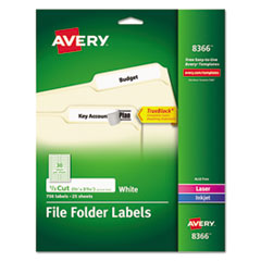 Avery® Permanent TrueBlock File Folder Labels with Sure Feed Technology, 0.66 x 3.44, White, 30/Sheet, 25 Sheets/Pack