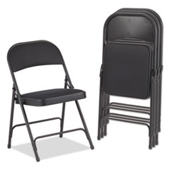 Alera® Steel Folding Chair with Two-Brace Support, Fabric Back/Seat, Graphite, 4/Carton ALEFC97B