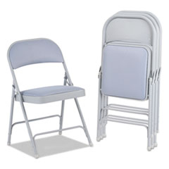 Alera® Steel Folding Chair with Two-Brace Support, Fabric Back/Seat, Light Gray, 4/CT ALEFC97G