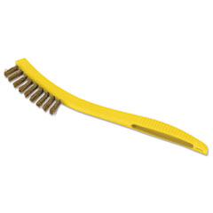 """Rubbermaid® Commercial Metal-Fill Wire Scratch Brush, 8 1/2"""" Yellow Plastic Handle, Dozen"""