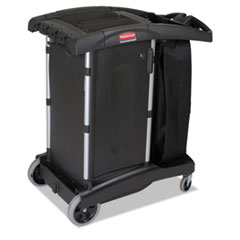 Rubbermaid® Commercial Compact Turndown Housekeeping Cart, 22w x 38 1/4d x 44h, Black