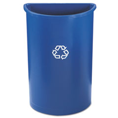 Rubbermaid® Commercial Half-Round Recycling Container, Plastic, 21 gal, Blue
