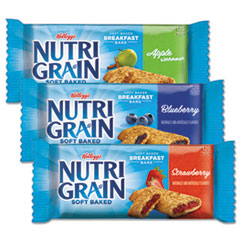 Kellogg's® Nutri-Grain Soft Baked Breakfast Bars, Asstd: Apple, Blueberry, Strawberry, 1.3 oz Bar, 48/Carton