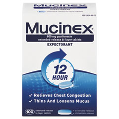 Mucinex® Expectorant Regular Strength, 100 Tablets/Box, 12 Box/Carton
