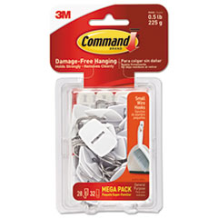 Command™ General Purpose Hooks, 0.5lb Capacity, Wire, White, 28 Hooks, 32 Strips/Pack MMM17067MPES