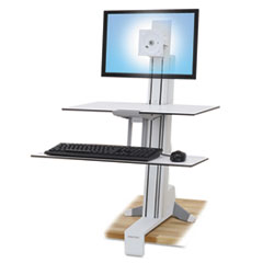 Ergotron® WorkFit-S Sit-Stand Workstation w/Worksurface+, LCD LD Monitor, White ERG33350211