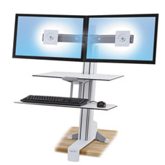 Ergotron® WorkFit-S Sit-Stand Workstation w/Worksurface+,Dual LCD Monitors, White