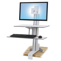 Ergotron® WorkFit-S Sit-Stand Workstation w/Worksurface+, LCD HD Monitor, White ERG33351211