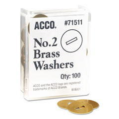 """ACCO Washers for Two-Piece Paper Fasteners, 1/2"""" Cap, 1 1/4"""" Diameter, Gold, 100/Box"""