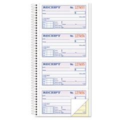 TOPS™ Money/Rent Receipt Spiral Book, 2-3/4 x 4 3/4, 2-Part Carbonless, 200 Sets/Book