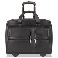 """Solo Classic Leather Rolling Case, 15.6"""", 16 7/10"""" x 7"""" x 13"""", Black"""